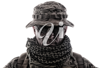 Shoulder portrait of skilled commando fighter, army forces veteran, professional military mercenary, experienced soldier in camo bonnie, glasses and shemagh studio shoot isolated on white background