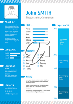 Business curriculum vitae. Business resume template with experience for job vector illustration