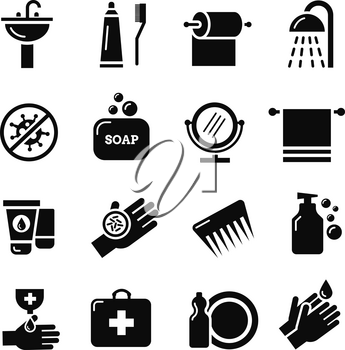 Hygiene, bacteria virus protection vector icons. Care and medical hygiene. Protect and hygiene icon of set illustration