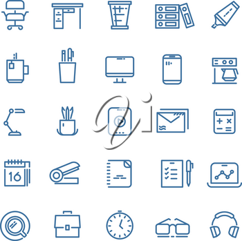Office workspace thin line vector icons. Clock and office desk, calendar and briefcase linear icons for website and mobile app
