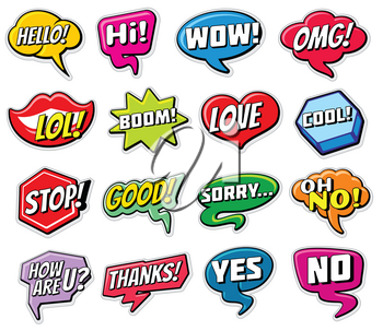 Web chat vector stickers templates. Internet words speech bubbles isolated. Illustration of bubble with word chat hello, love, yes and no