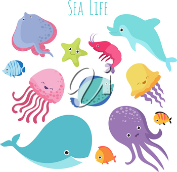 Cute baby sea fishes. Vector cartoon underwater animals collection. Jellyfish and starfish, ocean and sea life illustration
