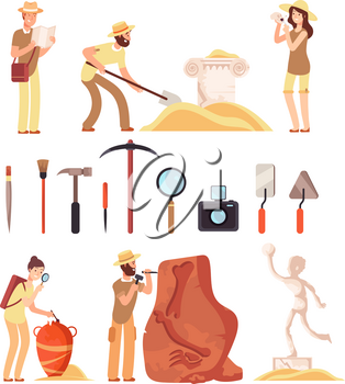 Archeology. Archeologist people, paleontology tools and ancient history artifacts. Vector cartoon isolated set. Illustration of archaeological instrument and discover