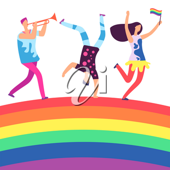 Lgbt parade. People holding rainbow flag. Gay love pride, sexual discrimination protest on rainbow. Illustration of homosexual equality, parade gay and lesbian