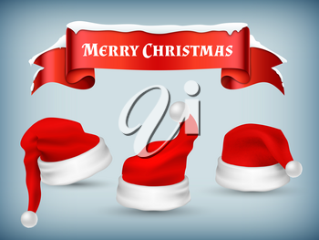 Winter Christmas banner vector template with realistic Santa hats and snowy red ribbon illustration