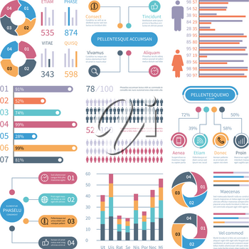 Infographic graphs. Business chart process infochart diagram option flowchart with people icons. Vector financial infographics elements. Illustration of flowchart process, graph and diagram