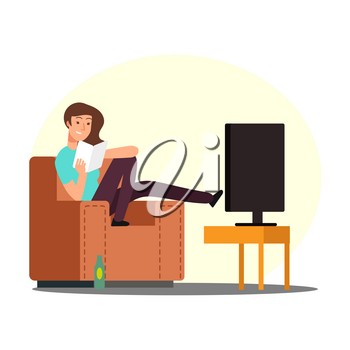 Cartoon woman rest on chair with book, tv and beer bottle vector illustration. Woman rest with book, girl character on sofa