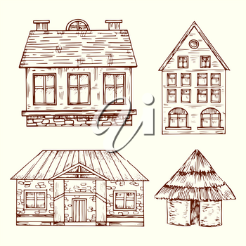 Different style hand drawn houses vector set. House with roof and window, architecture building home illustration