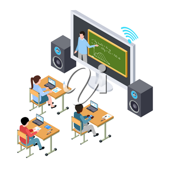 Online education vector concept. International students and teacher on the screen. Illustration of education with computer online