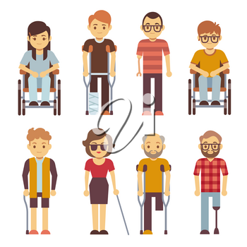 Disabled persons vector flat icons. Disabled in wheelchair, disability character young illustration