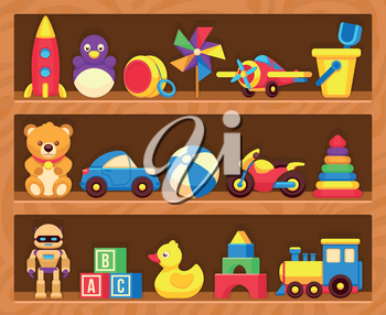 Kids toys on wood shop shelves. Toys in shelf robot and motorcycle, kids toys duck and teddy bear illustration