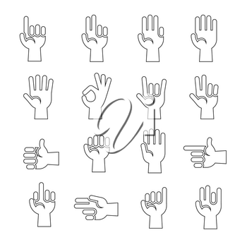 Line art hands gestures vector icons set in black and white illustration
