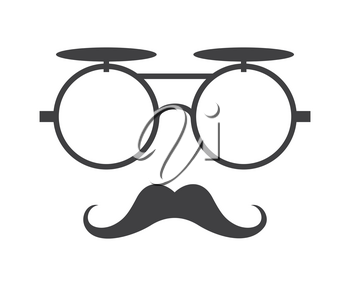 Vector glasses and mustache icon in black over white. Element hipster illustration