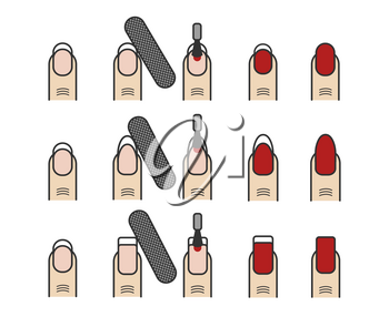 Manicure process vector icons set. Different nail styles. Beautiful process make manicure illustration