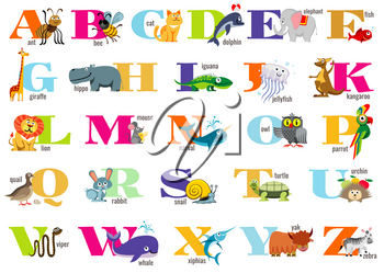 English alphabet for children with cute animals. Vector letter poster for preschoolers
