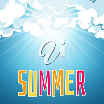 Sunny summer blue sky background. Day sunlight and clear weather, vector illustration