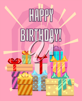 Happy birthday greeting card with a heap of gift boxes. Package gift to holiday, vector illustration