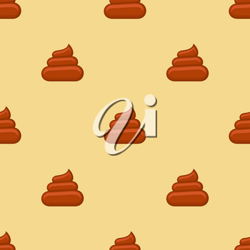 Poo seamless pattern. Background with poop, excrement smell, vector illustration