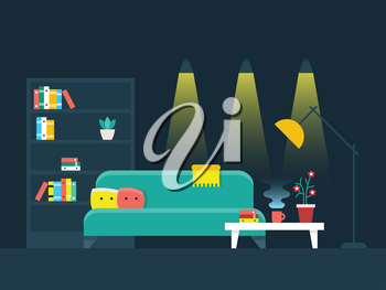 Living room interior flat vector illustration. Bookcase and lighting comfortable apartment