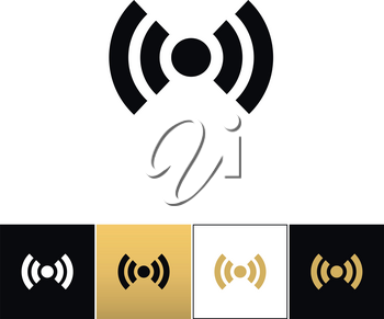 Wi-fi wireless signal spot symbol vector icon. Wi-fi wireless signal spot symbol program on black, white and gold background