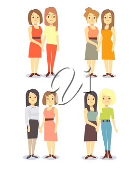 Set of happy gay LGBT women pairs. Lesbian love and relationship, vector illustration
