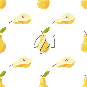 Vector pears and slices seamless pattern. Background with sweet fruit illustration