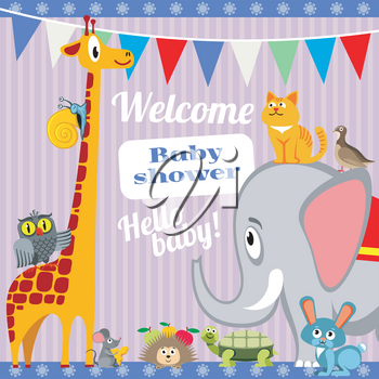 Baby shower invitation card with cute animals. Vector template banner with elephant and giraffe, cat and turtle illustration