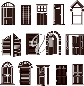 Open and closed door black vector icons set. Entrance to home or doorway to office illustration