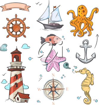 Nautical vector doodle design set with sea star, octopus, sailboat, anchor, compass and lighthouse. Steering wheel and sailboat, illustration of transportation nautical sailboat