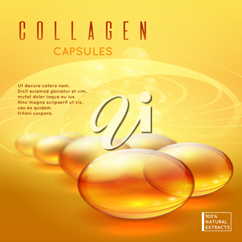 Gold pill vitamins, gold gel collagen capsule vector background for long strong hair and natural nails care advertising. Medicine pill vitamin illustration