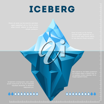 Information poster design with iceberg. Business chart ice, vector illustration