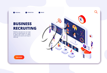 Recruitment landing page. Businessmen have interview in office. Hr employment agency, online recruitment isometric vector concept. Illustration of business recruiting online, resources people