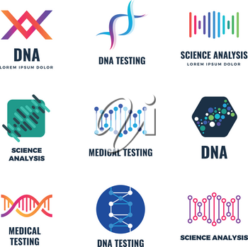 Dna code biotech vector science genetics logo. Helix molecule biotechnology emblems with dna gene spiral, biotechnology genome chromosome. Vector illustration