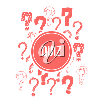 Quiz banner design with pink hand drawn question marks. Vector illustration
