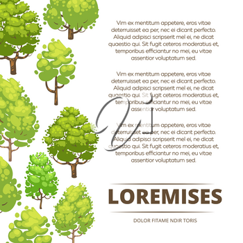 Abstract forest poster design - eco poster background with cartoon trees. Template of banner with tree illustration