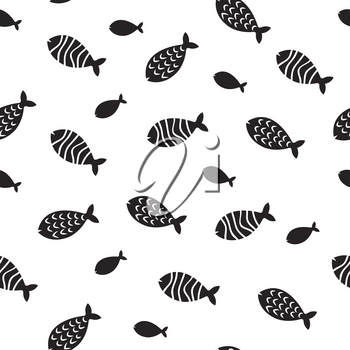 Swimming fish vector seamless pattern. Small silhouette fishes endless decoration. Monochrome fish pattern silhouette, seamless background underwater simple fish illustration