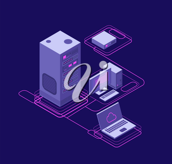 Computer synchronization, data network management. Isometric devices, networking servers. Cloud storage technology vector concept. Process database communication in hosting illustration