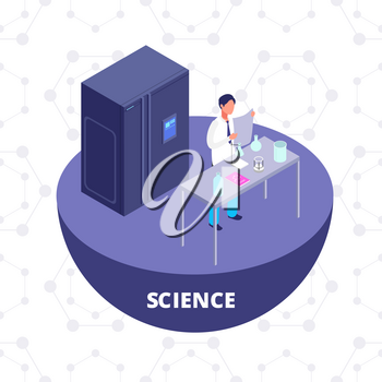 Science 3d isometric research lab with laboratory equipment and scientist vector illustration. Chemistry laboratory 3D icon isolated