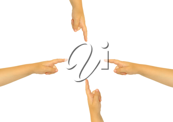 The extended childrens hand with a forefinger on a white background.