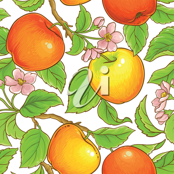 apple branches seamless pattern on white background