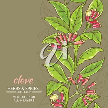 clove branches vector pattern on color background