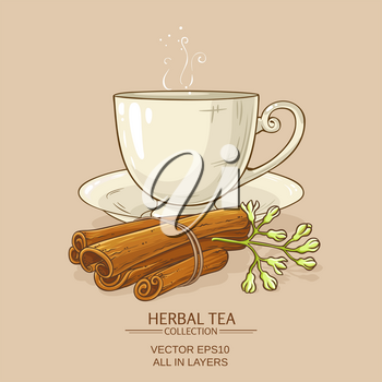 cup of cinnamon tea  on color background