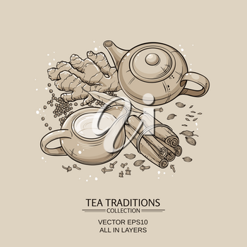 traditional indian masala tea with spices on brown background