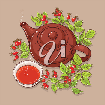 cup of wild rose hips tea and teaapot on color background