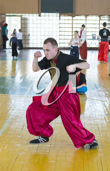 Lviv, Ukraine - April 25.2015: Competitor in the martial arts to perform in the gym in the city park in Lviv, Ukraine