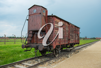 Holocaust Death Camp cattle car train from Nazi Germany concentration camp Auschwitz-Birkenau