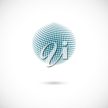 Vector halftone spheres. Design element with shadow.