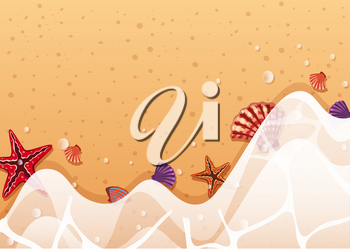 Background template with starfish and shells on shore illustration