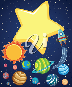 Background scene with rocket and planets in space illustration
