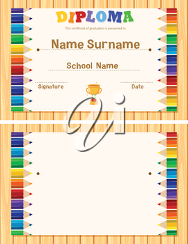 Diploma template with color pencils in background illustration